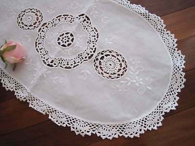 Last@ Elegant Flower Hand Embroidery Fine Yarn Crochet Inserted Cotton Topper