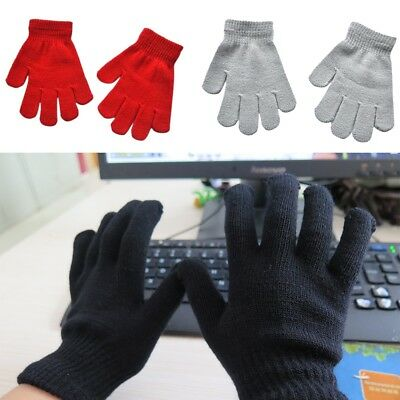 Childrens Magic Gloves Girls Boys Kids Stretchy Knitted Winter Warm QA