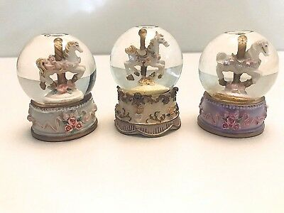 Set of 3 - Carousel Snow Globes