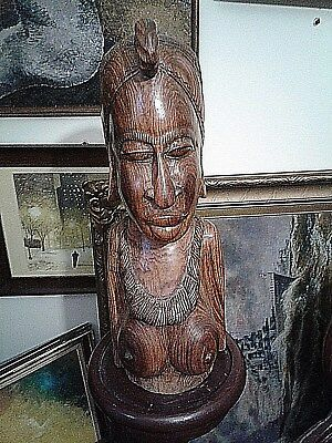 Large Antique Bini Nigeria African Female Carved Wood Bust