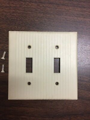 Vintage mid-century art deco Ivory ribbed double toggle switch cover