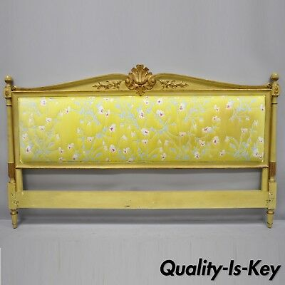French Louis XVI Style Upholstered King Size Bed Headboard by Robert Richter