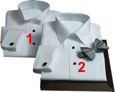 Custom Made to Measure Tuxedo Shirt front pleated spread wing Collar French Cuff