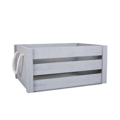 Grey Paint Rope Handle Storage Wooden Crates shelve Box Christmas Gift Hampers