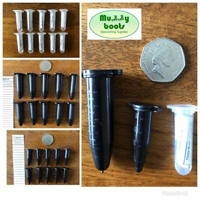 10x Geocaching micro caches Nano geocache Sneaky 1.5ml, 2ml, 5ml vial containers