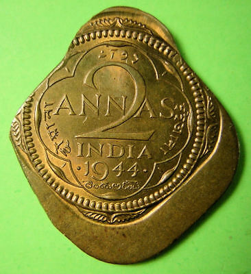 India, British, 1944 2 Anna, Brass, Mint Error, off center & double struck.