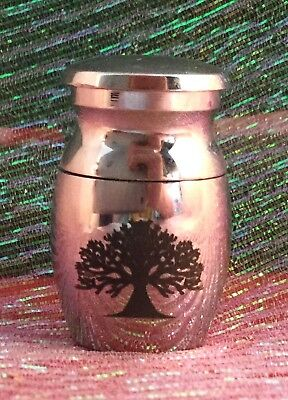 CU   Small Tree of Life Etched Metal Cremation Urn for Ashes  sympathy funeral