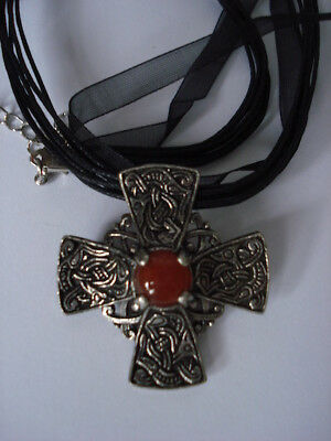 Scottish Celtic Cross Brooch/pendant/necklace With Semi Precious Stone
