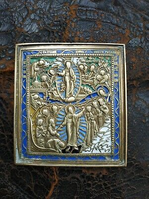antique RUSSIAN BRASS ICON MOTHER OF GOD RUSSIA 6 coloured enamel 18-19 ct RARE