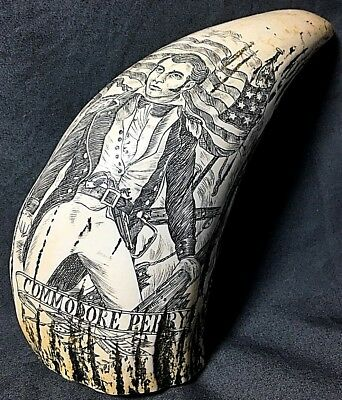 Vintage Faux Scrimshaw Commodore Perry Whale Tooth (Getty Museum Reproduction)