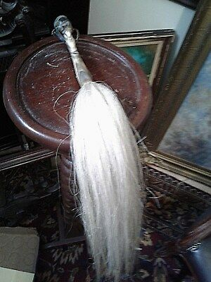 Antique African Horse Hair Whip Unique Oxe Bone Warrior Handle Silver Inlay