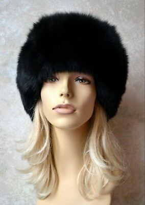 6e083bf75de BRAND NEW WITH Tag! KYI KYI Genuine Real Fox Fur Black Silver Beanie ...