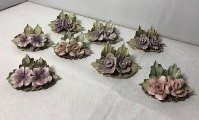 Vintage 8 Italian Pottery Place Setting Markers Flowers Giuseppe Chiurato