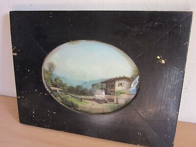 Antique Early curved convex painting of farm scene in Victorian Frame