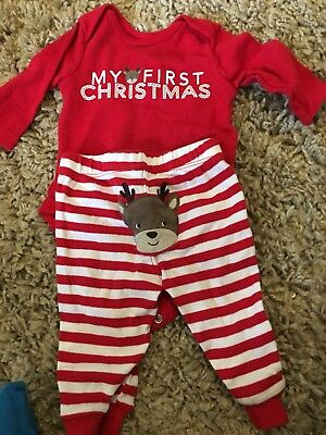 First christmas 0-3 Months Carters Red And White Striped Reindeer Outfit