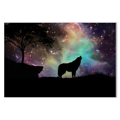Abstract Universe Wolf Galaxy Canvas Painting Poster Home Bar Wall Art Decor