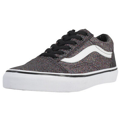 Vans Old Skool Glitter Kids Rainbow Black Canvas Trainers