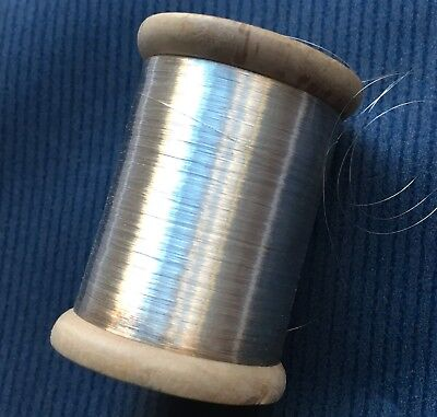 Vintage Wooden Spools Fine Round Silver Metallic Thread Paper Labels French