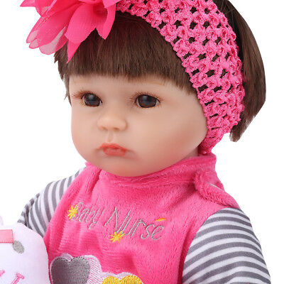 "18"" Lifelike Newborn Silicone Vinyl Reborn Baby Girl Doll Adorable Kids Toy Gift"