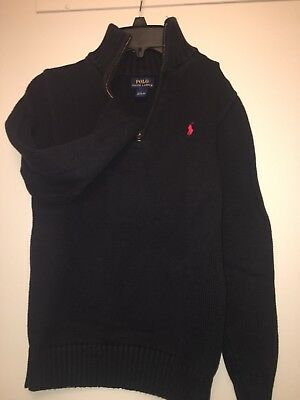 POLO RALPH LAUREN all Cotton, 1/4 Zip Sweater in Black Red Pony L14/16