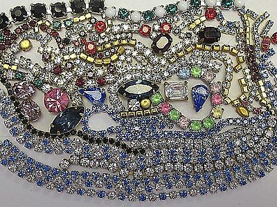 100% Swarovski Rhinestone Chain Long Strips & Settings Lot Vtg Findings Crafts