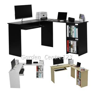 Utility Wooden Office Computer Writing Desk L-shaped Corner Table Home Furniture