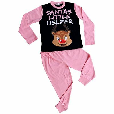 Kids Girls Pyjamas Santas Little Helper Baby Pink Contrast Sleeves Xmas PJS 2-13