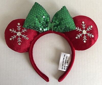 NWT Disney Parks Christmas Holiday Minnie Mouse Ears Red Green Snowflake Bow