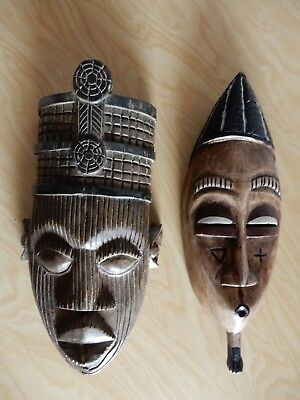 African Wood Carved Masks from Pier 1 Imports Lot of 2