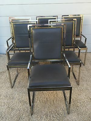 SIX Willy Rizzo Maison LEATHER Chair Jansen Cidue Hollywood Regency Crespi Rega