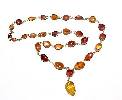 Old solid carved amber with age patina necklace