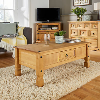 Rustic Coffee Table Drawer Solid Wood Living Room Furniture Lounge Wooden