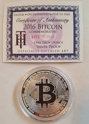 2016 Bitcoin Proof 1 Troy oz .999 fine Solid silver commemorative AOCS RARE!