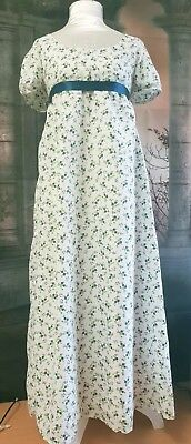 Regency Style White / Green And Teal Floral Gown