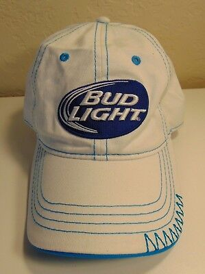 Bud Light Baseball Cap Hat White with Blue Adjustable Anheuser Busch Beer ab0bd9faed96