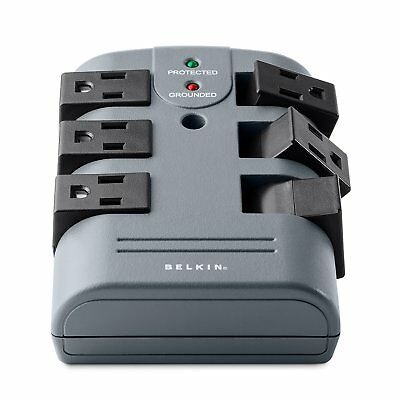 Belkin 6-Outlet Pivot-Plug Wall Mount Power Strip Surge Protector, 1080 Joules