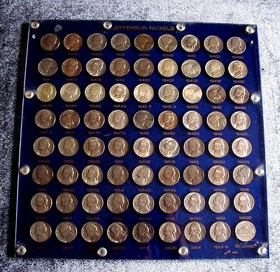 1938 - 1964 P - D - S Jefferson Nickel Collection Set 72 Coins Uncirculated