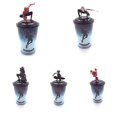 New Spider-Man: Into The Spider-Verse Movie Character Toppers, 12oz Cups, Lids