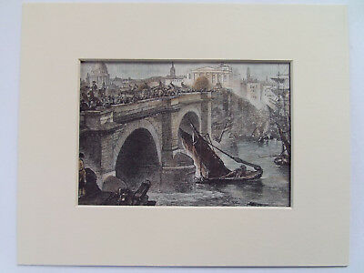 """LONDON BRIDGE ANTIQUE PRINT DATED 1902 COLOURED & MOUNTED  10""""x8"""" READY TO FRAME"""