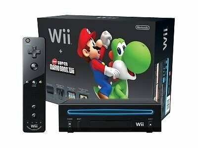 Nintendo Wii Black Console and New Super Mario Bros (Discounted) FREE shipping