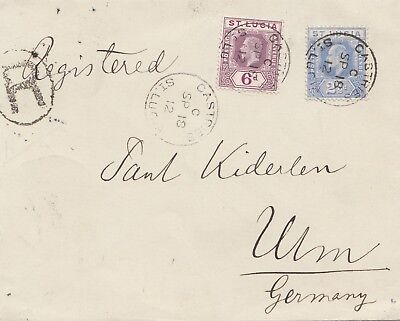 St. Lucia: Registered Castries 1912 to Ulm