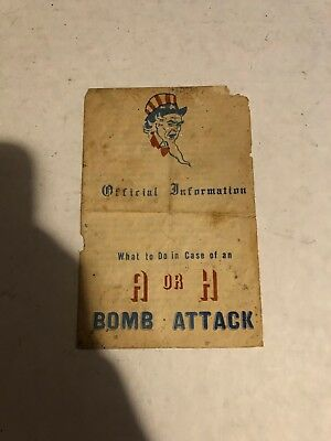 Authentic Official Information Pamphlet What to Do Case of an A or H Bomb Attack