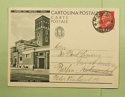 DR WHO 1933 ITALY MERANO PICTORIAL POSTAL CARD TO BERLIN  d67474