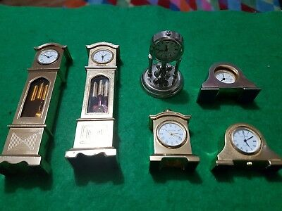 Job lot of 6 vintage assorted miniature clocks - highly collectable - need tlc