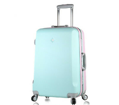 D89 Fashion Front Blue Back Pink Traveling Universal Wheel Suitcase 20 Inches W