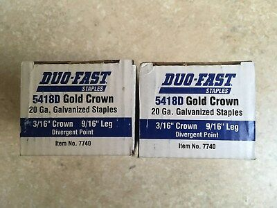 "2 boxes Duo-fast 5418D Gold crown staples 3/16"" crown, 9/16 leg length"