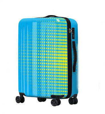 D518 Lock Universal Wheel Blue Polka Dot Travel Suitcase Luggage 20 Inches W