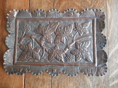 Late Victorian Arts & Crafts Copper Tray With Vine Leaves and Impressed Initials