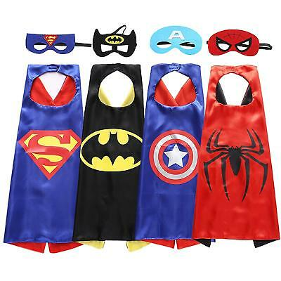 4 Set Superhero Costumes Boys Capes and Masks for Kids Party Dress up Costumes