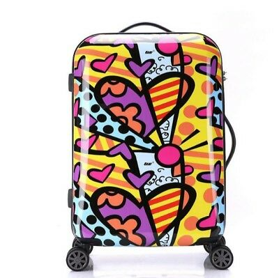 D01 Cartoon Pattern Business Travel Draw Bar Suitcase Luggage 20 Inches W